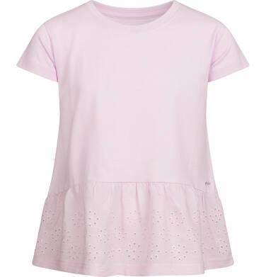 Endo - Bluzka z krótkim rękawem dla dziewczynki, z szeroką haftowaną falbaną na dole, różowa, 9-13 lat D03G553_1