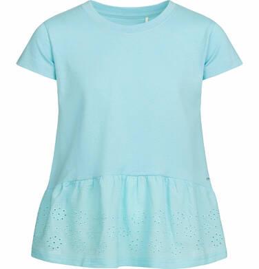 Endo - Bluzka z krótkim rękawem dla dziewczynki, z szeroką haftowaną falbaną na dole, turkusowa, 2-8 lat D03G053_2
