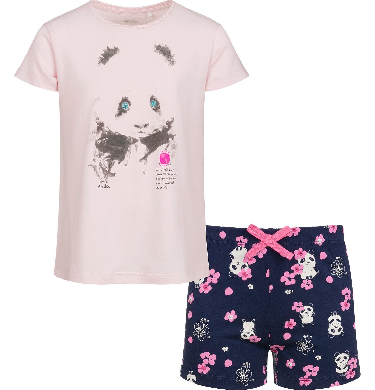 Endo - Piżama z krótkim rękawem dla dziewczynki, deseń w pandy, 9-13 lat D03V508_1