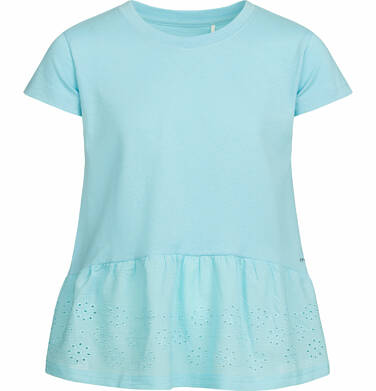 Endo - Bluzka z krótkim rękawem dla dziewczynki, z szeroką haftowaną falbaną na dole, turkusowa, 9-13 lat D03G553_2