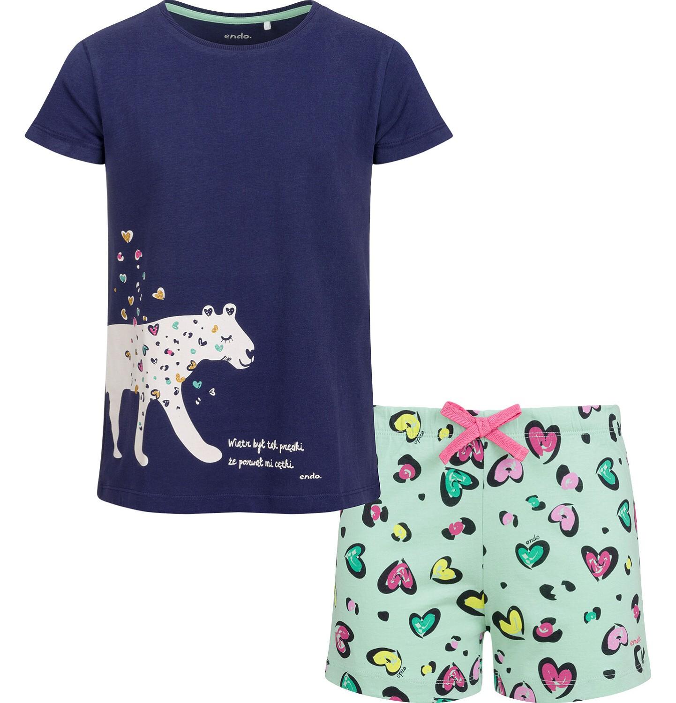 Endo - Piżama z krótkim rękawem dla dziewczynki, deseń w serca, 2-8 lat D03V009_1