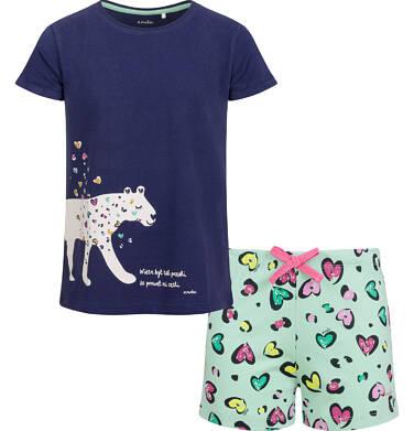 Endo - Piżama z krótkim rękawem dla dziewczynki, deseń w serca, 2-8 lat D03V009_1 2