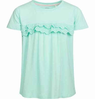 Endo - Bluzka z krótkim rękawem dla dziewczynki, z falbanką, miętowa, 2-8 lat D03G055_1 307