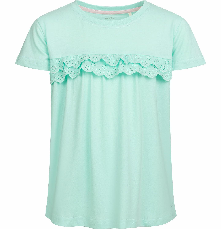 Endo - Bluzka z krótkim rękawem dla dziewczynki, z falbanką, miętowa, 9-13 lat D03G555_1