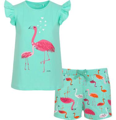 Endo - Piżama z krótkim rękawem dla dziewczynki, wzór we flamingi, zielona, 3-8 lat D06V015_1 6