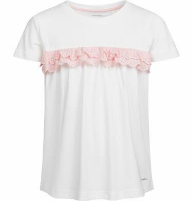Endo - Bluzka z krótkim rękawem dla dziewczynki, z falbanką, biała, 2-8 lat D03G055_2