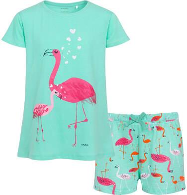 Endo - Piżama z krótkim rękawem dla dziewczynki, wzór we flamingi, zielona, 9-13 lat D06V016_1 1