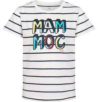 Endo - T-shirt z krótkim rękawem dla chłopca, z napisem mam moc, biały w paski, 2-8 lat C05G023_1 28