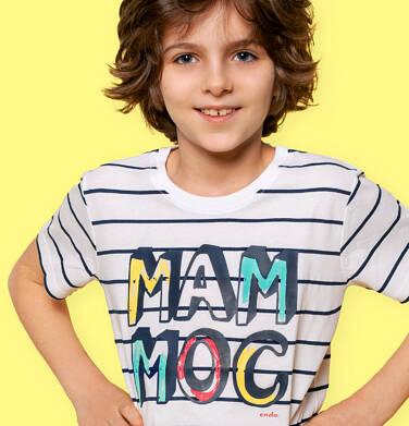Endo - T-shirt z krótkim rękawem dla chłopca, z napisem mam moc, biały w paski, 2-8 lat C05G023_1 20