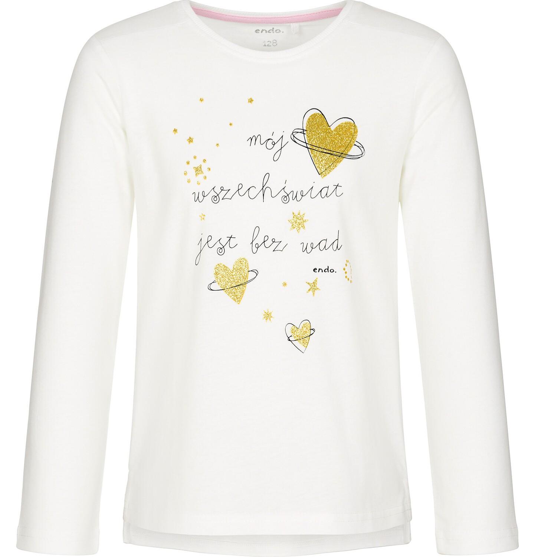 Endo - Bluzka z długim rękawem dla dziewczynki, mój świat jest bez wad, złamana biel, 3-8 lat D92G081_1