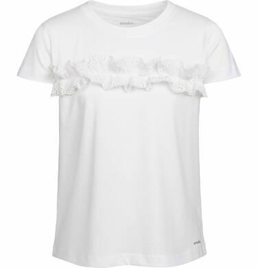 Endo - Bluzka z krótkim rękawem dla dziewczynki, z falbanką, biała, 2-8 lat D03G059_1