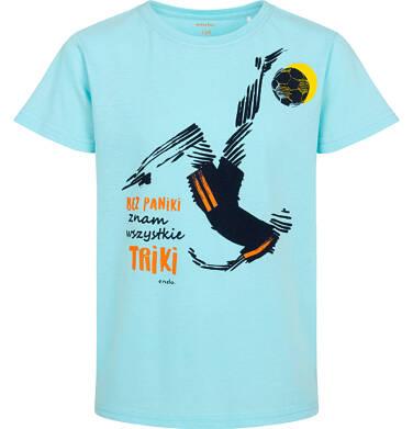 T-shirt z krótkim rękawem dla chłopca, z piłkarzem, niebieski, 9-13 lat C05G027_1