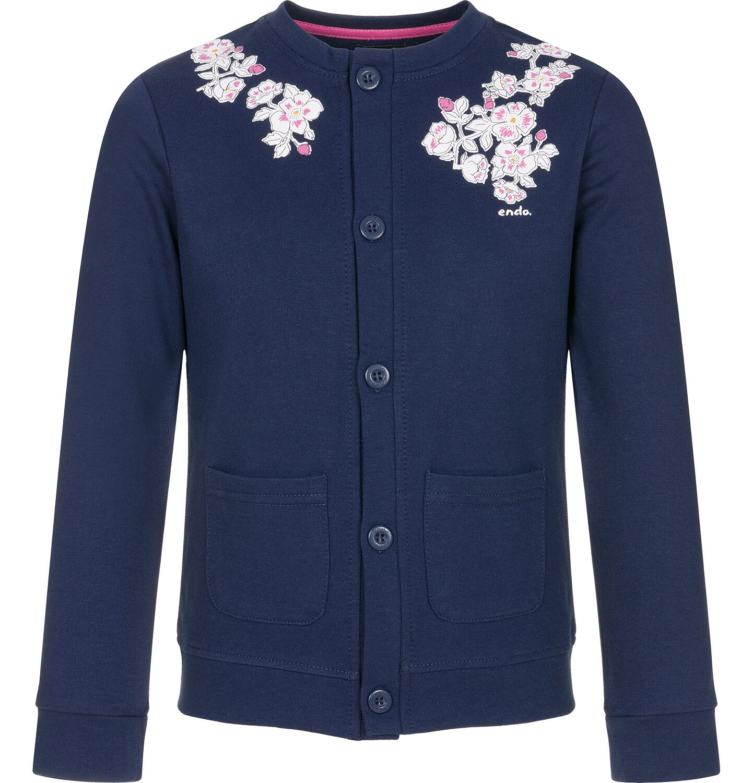 Endo - Rozpinana bluza dla dziewczynki, kwiatowy motyw, granatowa, 9-13 lat D92C504_1