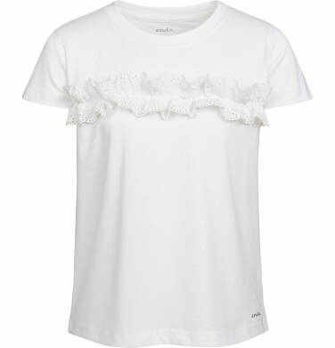 Endo - Bluzka z krótkim rękawem dla dziewczynki, z falbanką, biała, 9-13 lat D03G559_1 20