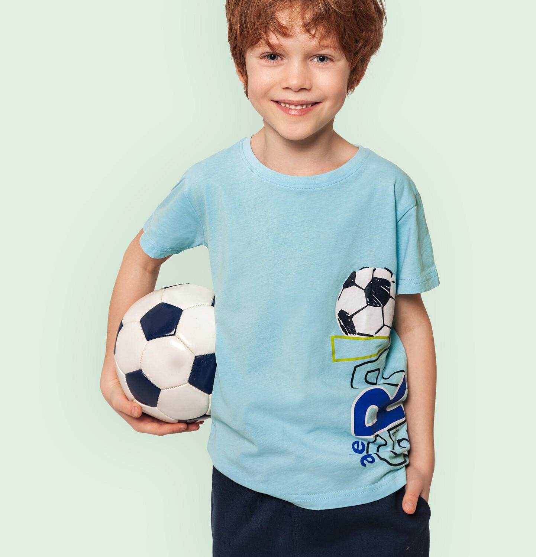 Endo - T-shirt z krótkim rękawem dla chłopca, z piłką nożną, niebieski, 2-8 lat C05G056_2