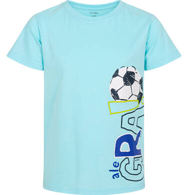 Endo - T-shirt z krótkim rękawem dla chłopca, z piłką nożną, niebieski, 2-8 lat C05G056_2 1