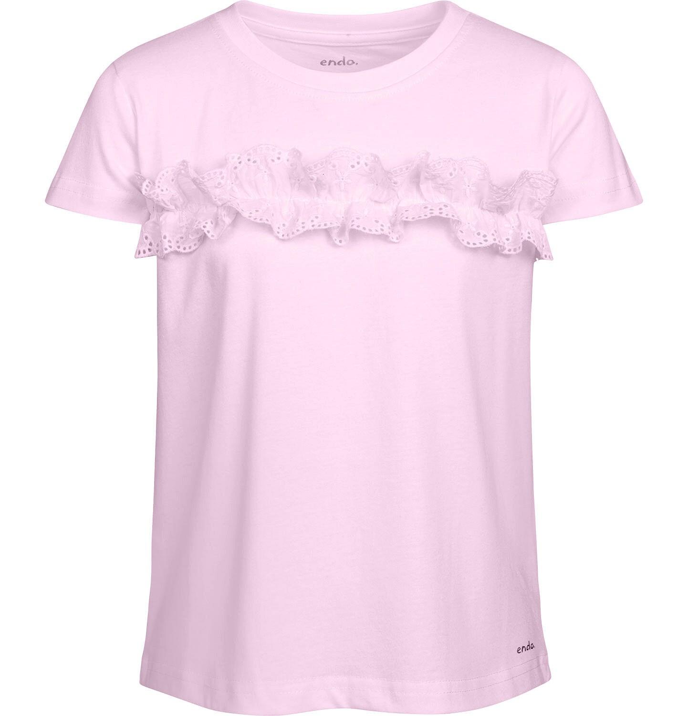 Endo - Bluzka z krótkim rękawem dla dziewczynki, z falbanką, różowa, 2-8 lat D03G059_2
