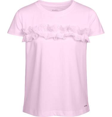 Endo - Bluzka z krótkim rękawem dla dziewczynki, z falbanką, różowa, 2-8 lat D03G059_2 306