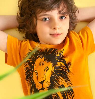 Endo - T-shirt z krótkim rękawem dla chłopca, z lwem, pomarańczowy, 9-13 lat C05G073_2 214
