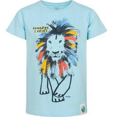 Endo - T-shirt z krótkim rękawem dla chłopca, z kolorowym lwem, niebieski, 2-8 lat C05G080_1 3