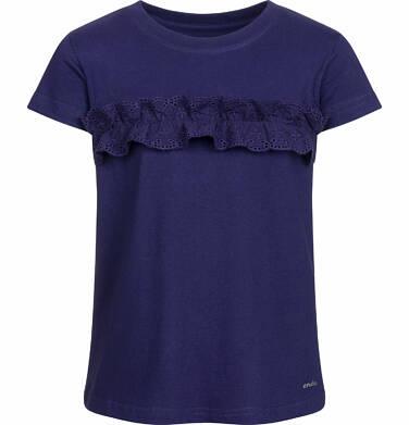 Endo - Bluzka z krótkim rękawem dla dziewczynki, z falbanką, granatowa, 9-13 lat D03G559_3 101