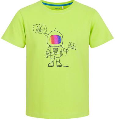 Endo - T-shirt z krótkim rękawem dla chłopca, z kosmonautą, limonkowy, 2-8 lat C03G100_1 21