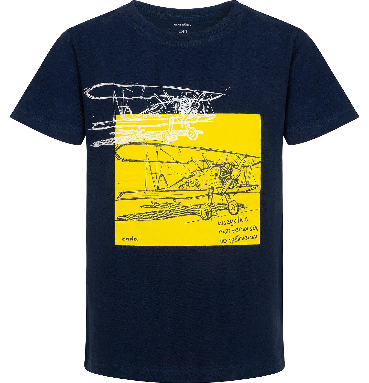 Endo - T-shirt z krótkim rękawem dla chłopca, z samolotem, granatowy, 9-13 lat C05G126_1