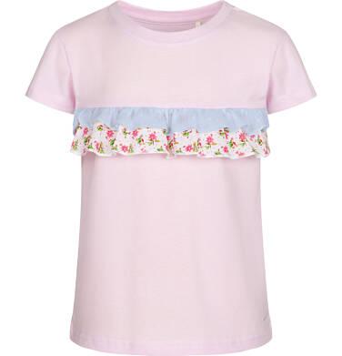 Bluzka z krótkim rękawem dla dziewczynki, z falbanką w kwiaty, różowa, 2-8 lat D03G061_1