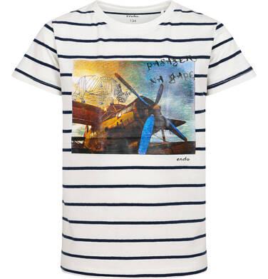 Endo - T-shirt z krótkim rękawem dla chłopca, z samolotem i nosorożcem, biały w paski, 9-13 lat C05G127_1 184