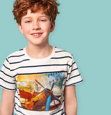 Endo - T-shirt z krótkim rękawem dla chłopca, z samolotem i nosorożcem, biały w paski, 9-13 lat C05G127_1 212