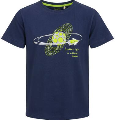 Endo - T-shirt z krótkim rękawem dla chłopca, z planetą, granatowy, 2-8 lat C03G101_1 20