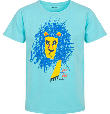 Endo - T-shirt z krótkim rękawem dla chłopca, z narysowanym lwem, niebieski, 2-8 lat C05G159_1 1