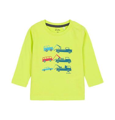Endo - T-shirt z długim rękawem dla dziecka do 3 lat, z samochodami, jaskrawozielony N92G050_1