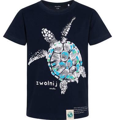 Endo - T-shirt z krótkim rękawem dla chłopca, z żółwiem morskim, granatowy, 9-13 lat C05G166_1 211