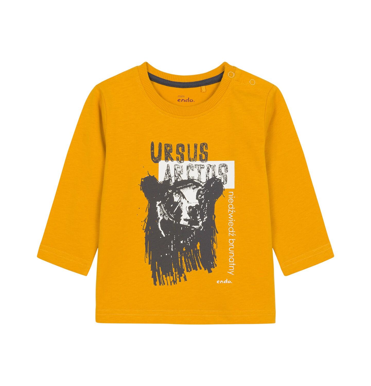 Endo - T-shirt z długim rękawem dla dziecka do 3 lat, z niedźwiedziem, ciemnomusztardowy N92G054_2