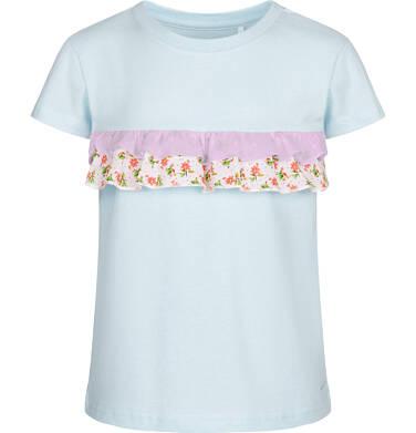 Endo - Bluzka z krótkim rękawem dla dziewczynki, z falbanką w kwiaty, niebieska, 9-13 lat D03G561_2 281