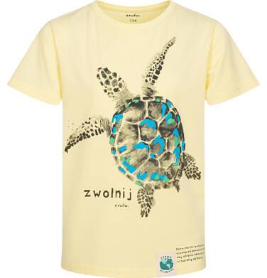 Endo - T-shirt z krótkim rękawem dla chłopca, z żółwiem morskim, żółty, 9-13 lat C05G166_2 210