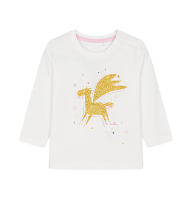 Endo - Bluzka z długim rękawem dla dziecka do 3 lat, z kosmicznym jednorożcem, złamana biel N92G080_1