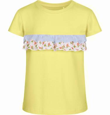Endo - Bluzka z krótkim rękawem dla dziewczynki, z falbanką w kwiaty, żółta, 2-8 lat D03G061_3
