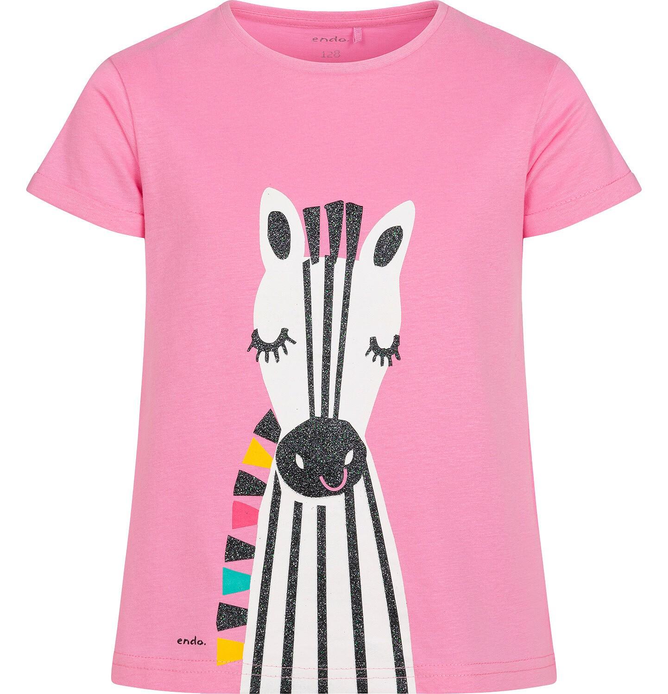 Endo - T shirt z krótkim rękawem dla dziewczynki, z zebrą, różowy, 9-13 lat D05G176_1