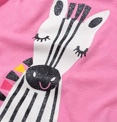 Endo - T shirt z krótkim rękawem dla dziewczynki, z zebrą, różowy, 9-13 lat D05G176_1 116
