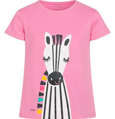 T shirt z krótkim rękawem dla dziewczynki, z zebrą, różowy, 9-13 lat D05G176_1