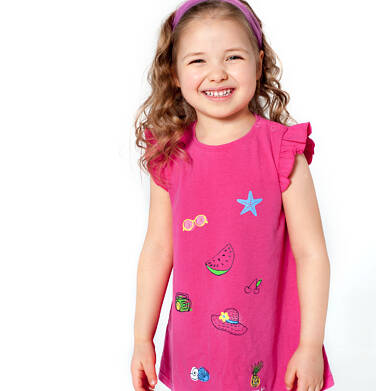 Endo - Sukienka z krótkim rękawem dla dziewczynki 3-8 lat D81H051_1