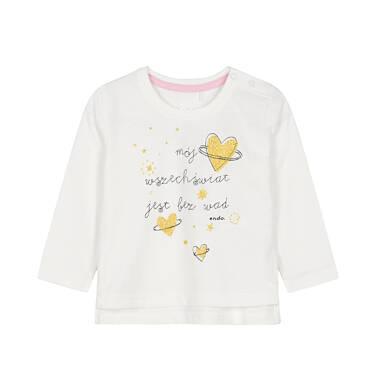 Endo - Bluzka z długim rękawem dla dziecka do 3 lat, mój wszechświat jest bez wad, złamana biel N92G081_1
