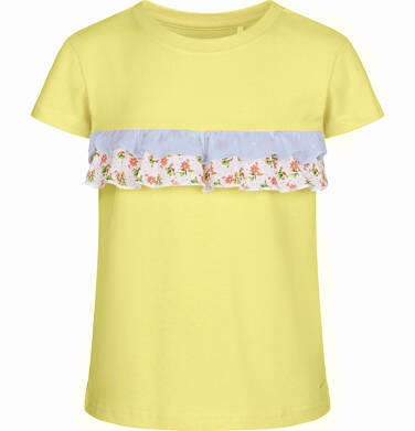 Endo - Bluzka z krótkim rękawem dla dziewczynki, z falbanką w kwiaty, żółta, 9-13 lat D03G561_3 36