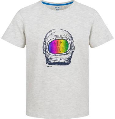 Endo - T-shirt z krótkim rękawem dla chłopca, z hełmem kosmonauty, jasnoszary melanż, 2-8 lat C03G103_1 18