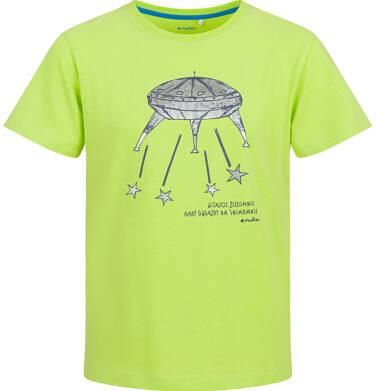 Endo - T-shirt z krótkim rękawem dla chłopca, ze statkiem kosmicznym, limonkowy, 2-8 lat C03G104_1 17
