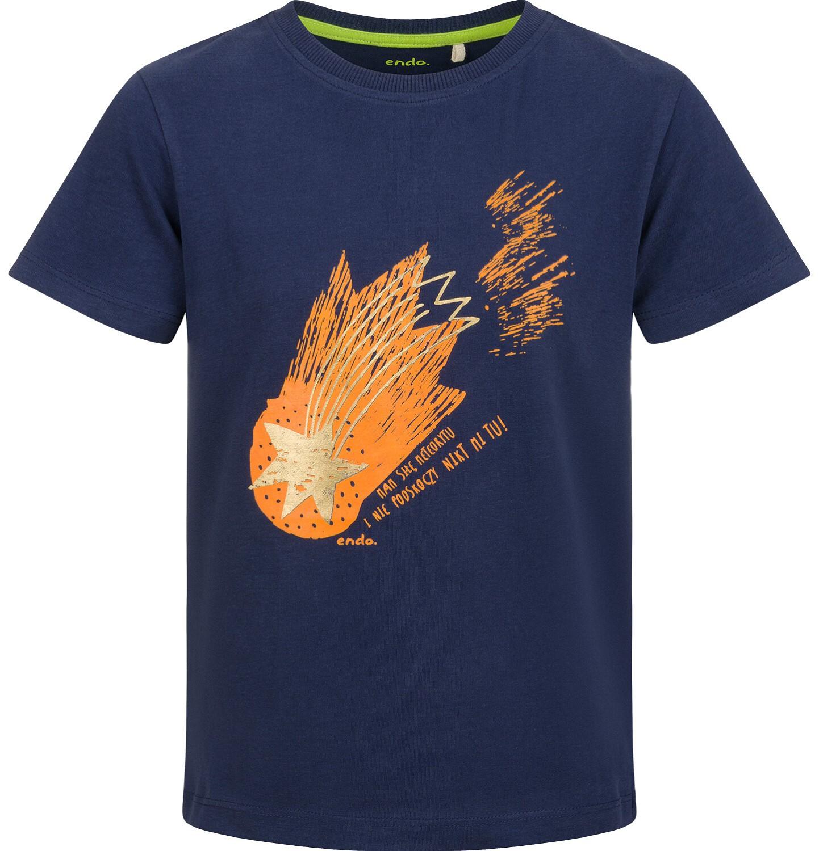 Endo - T-shirt z krótkim rękawem dla chłopca, ze spadającą gwiazdą, granatowy, 2-8 lat C03G105_1
