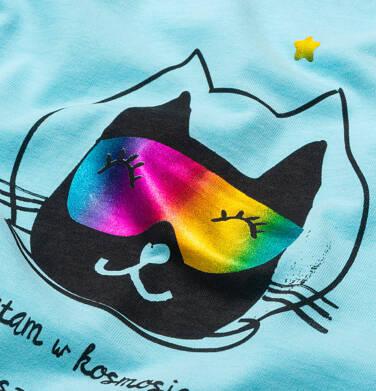 Endo - T-shirt z krótkim rękawem dla dziewczynki, z kotem astronautą, niebieski, 2-8 lat D05G163_2 33