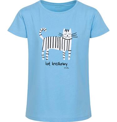 Endo - T-shirt z krótkim rękawem dla dziewczynki, z kotem kreskowym, niebieski, 9-13 lat D05G182_1 16